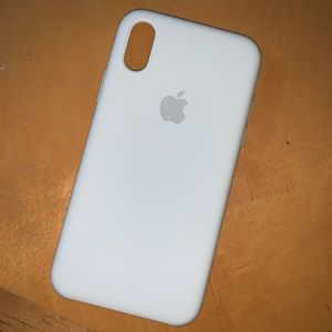 White Apple IPhone XS Silicone Case
